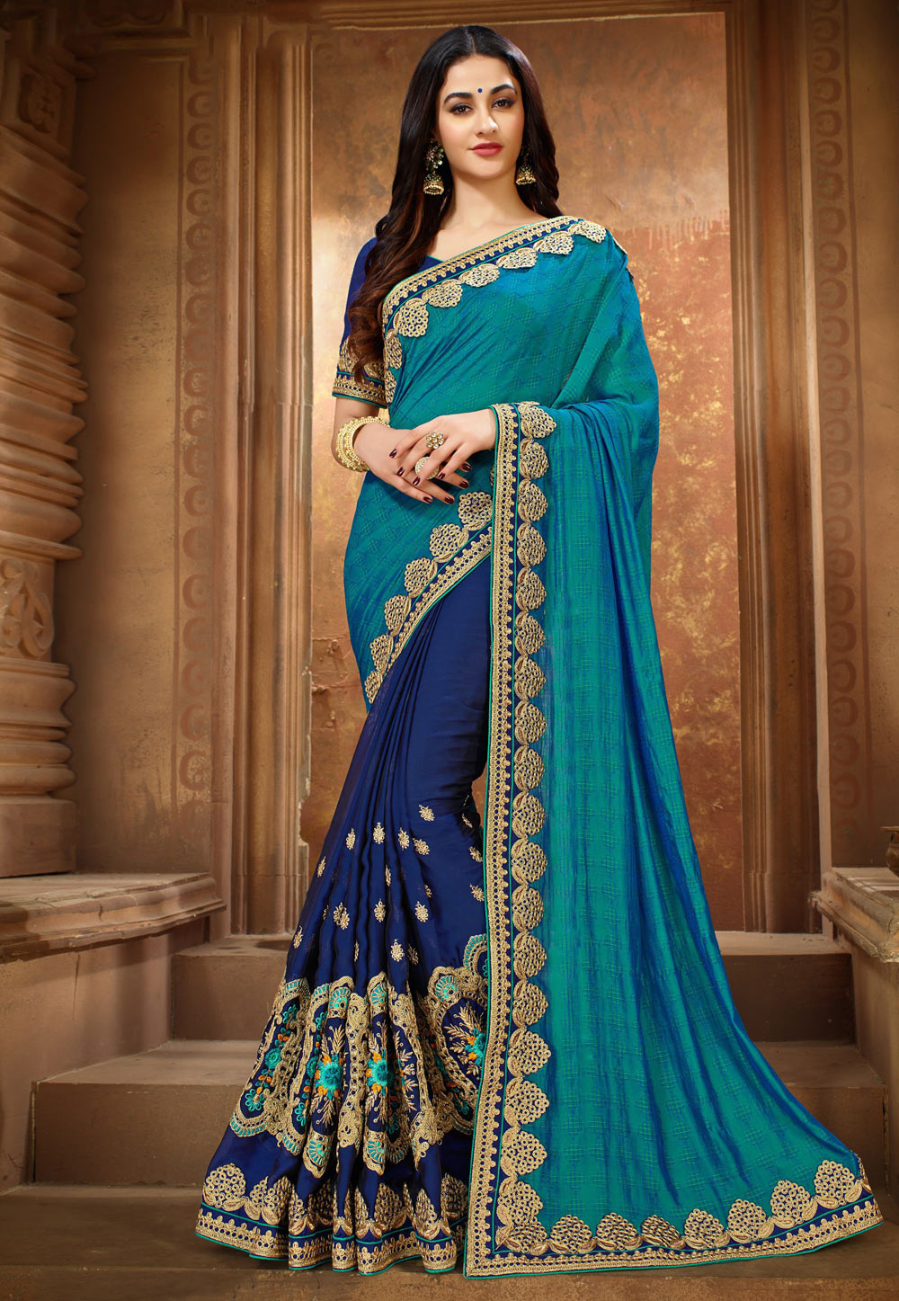 Blue Silk Half and Half Saree 189166