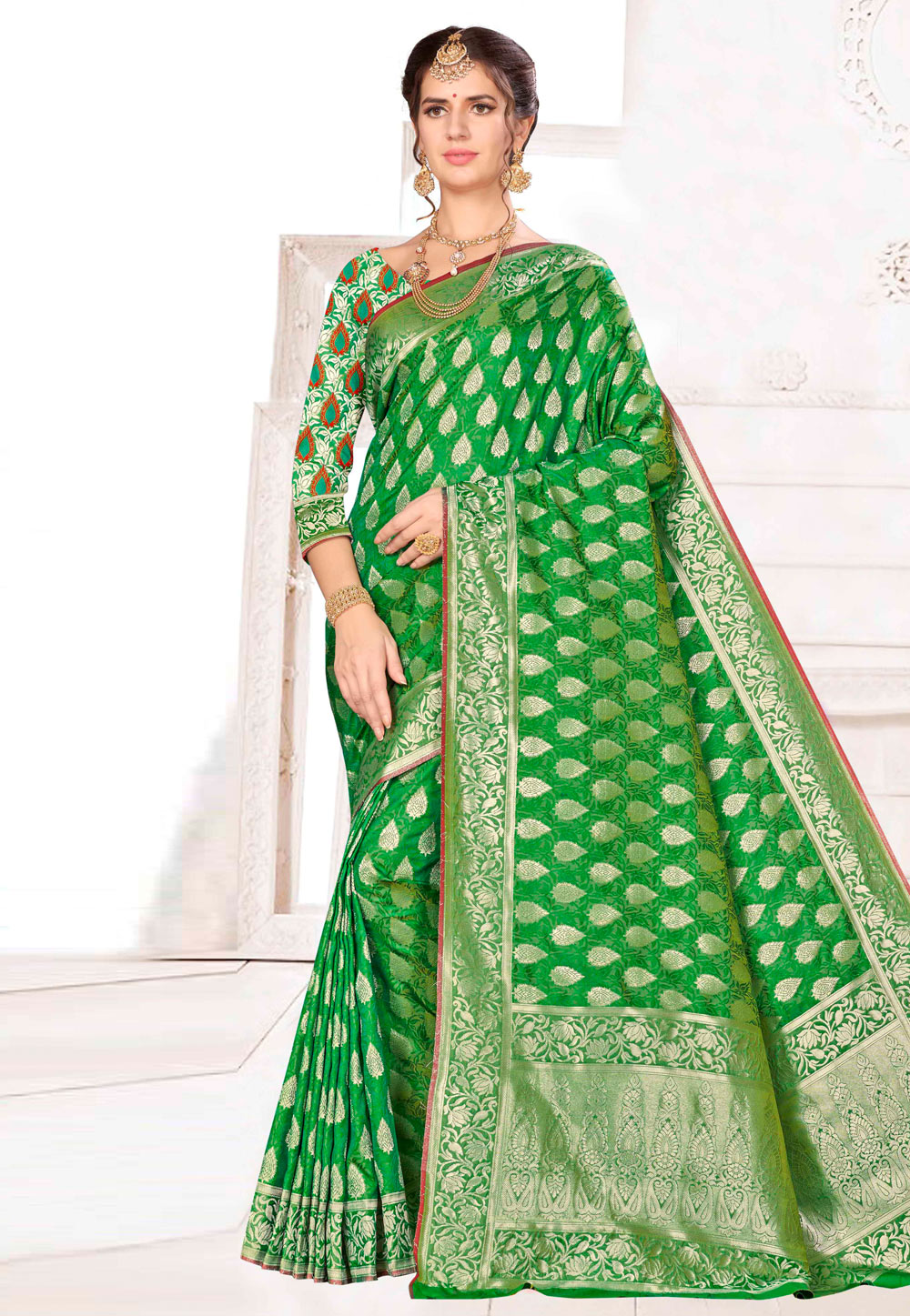 Green Banarasi Silk Festival Wear Saree 176528