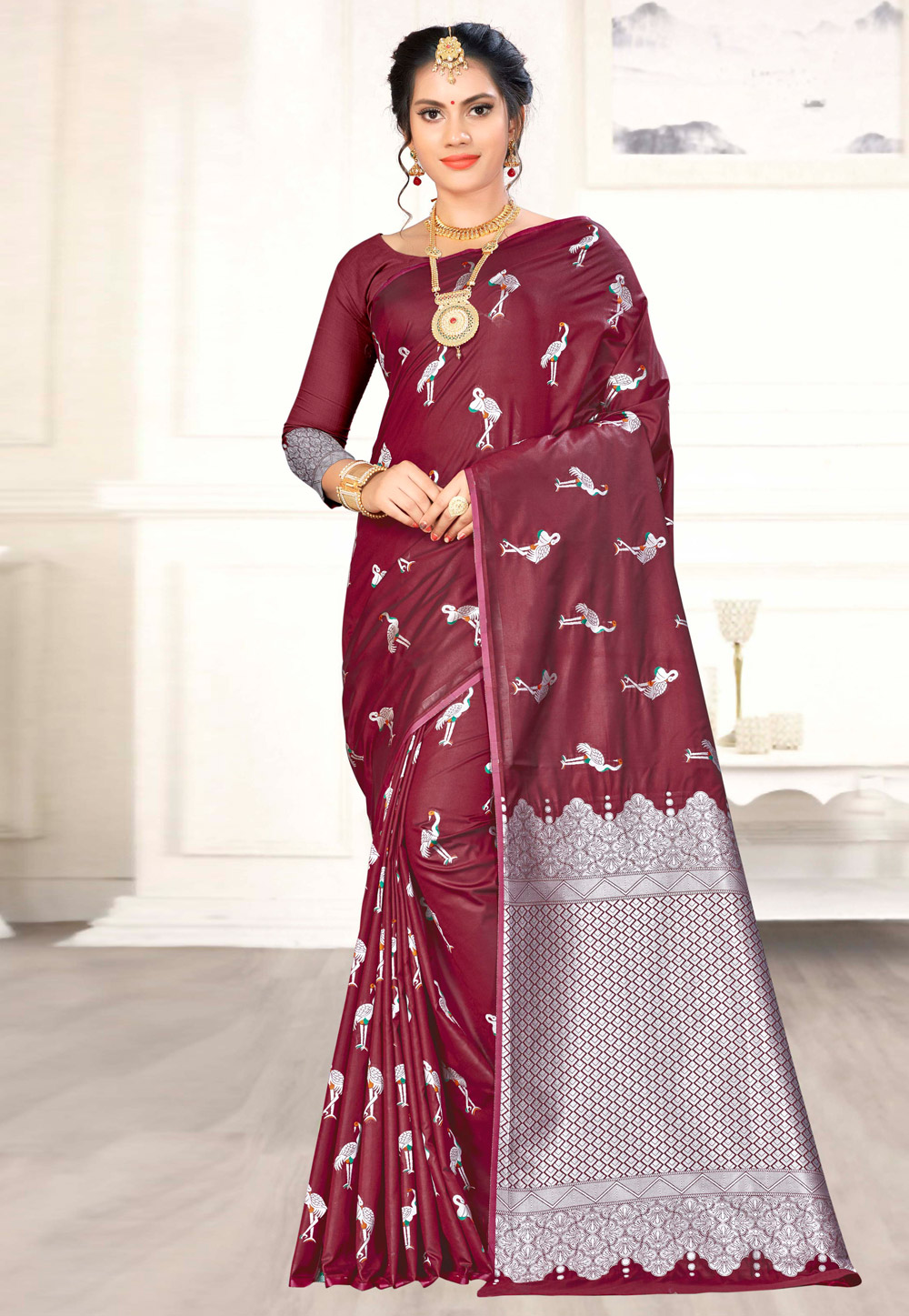 Wine Banarasi Silk Festival Wear Saree 176487