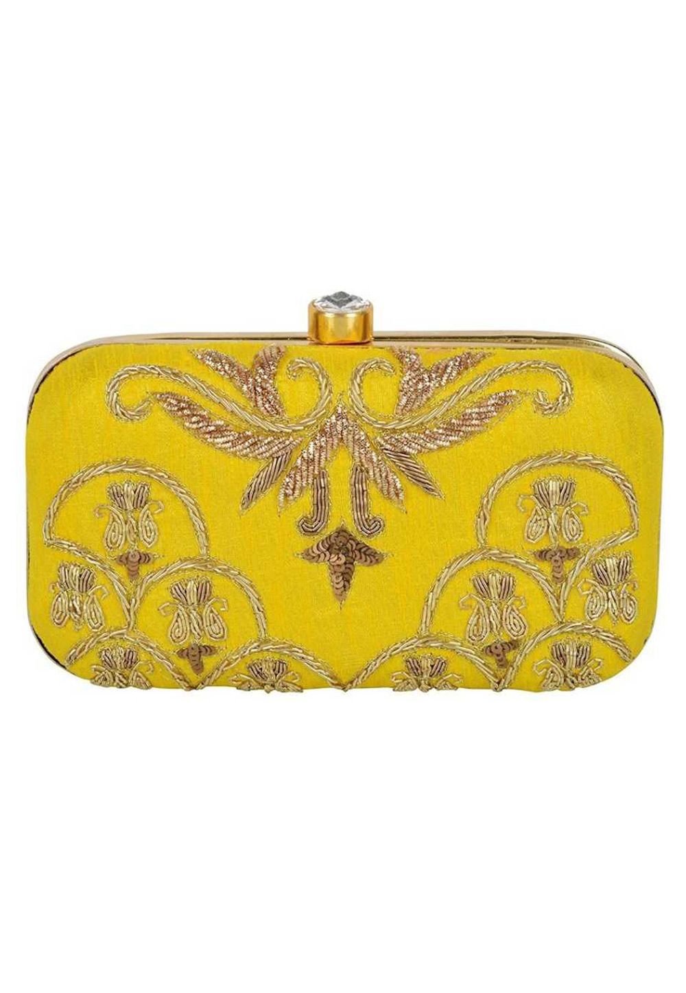 Yellow Synthetic Embroidered Clutch 176761
