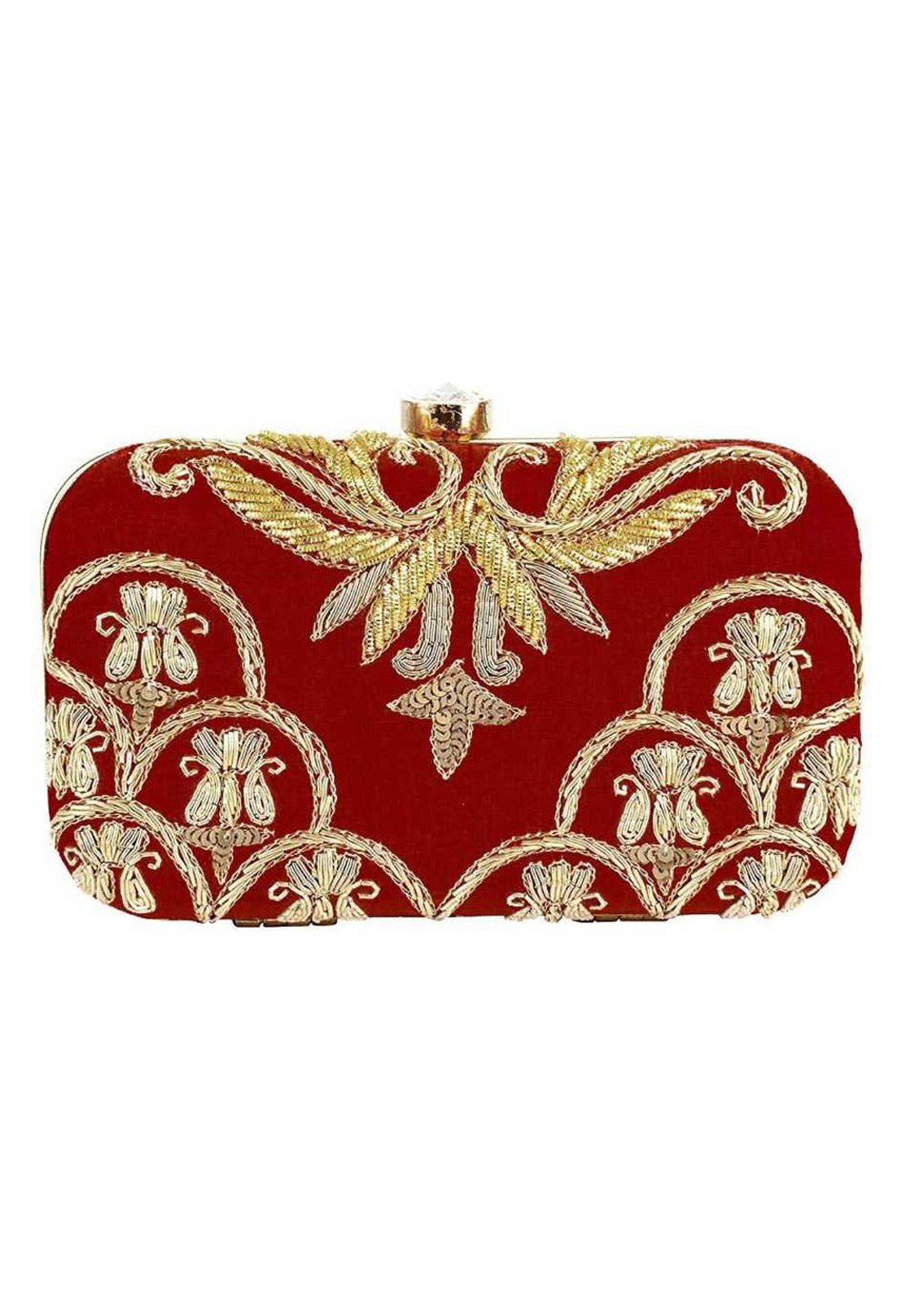 Maroon Synthetic Embroidered Clutch 176762