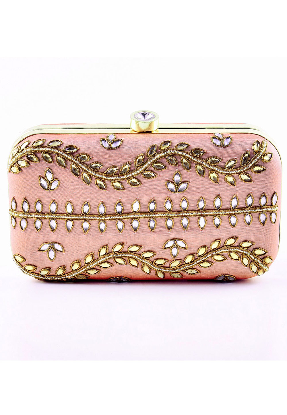 Pink Synthetic Embroidered Clutch 176763