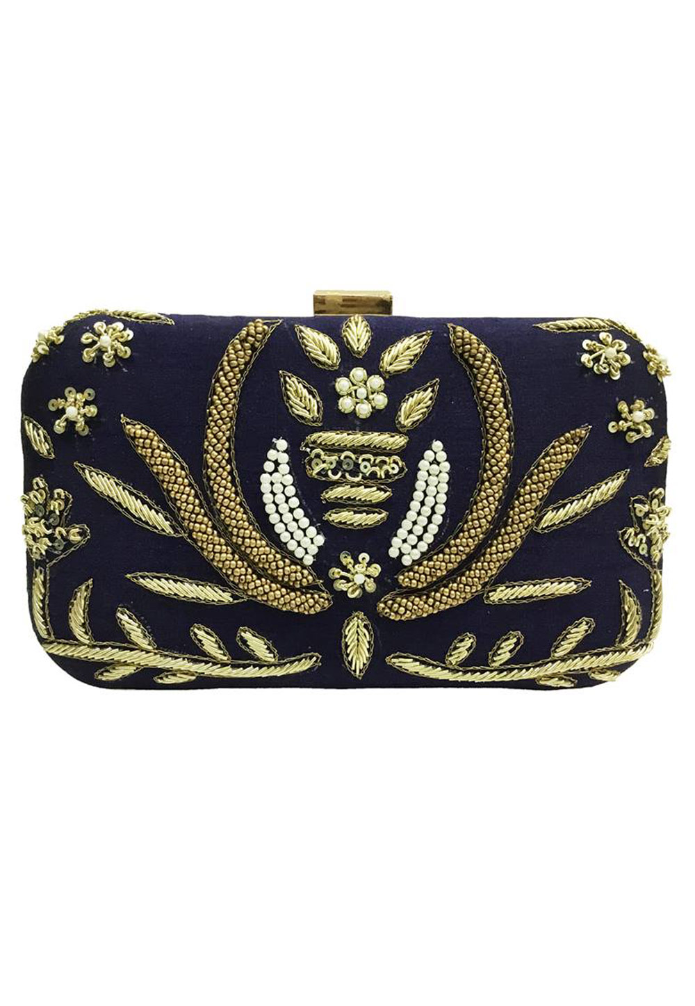Navy Blue Synthetic Embroidered Clutch 176764