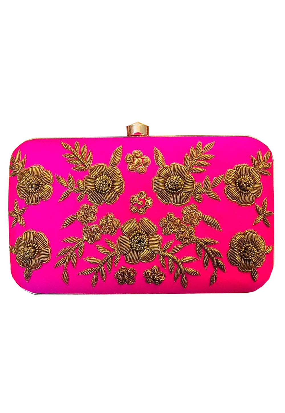 Magenta Synthetic Embroidered Clutch 176765