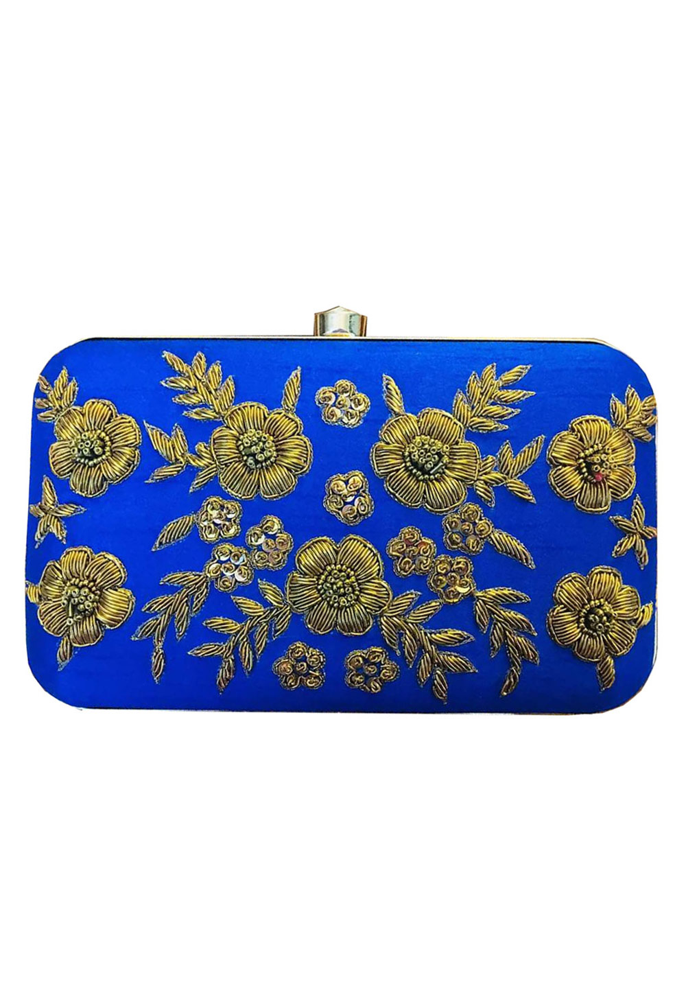 Blue Synthetic Embroidered Clutch 176766