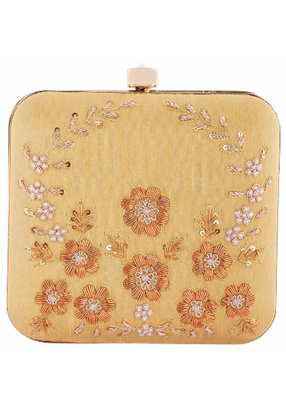 Beige Synthetic Embroidered Clutch 176768