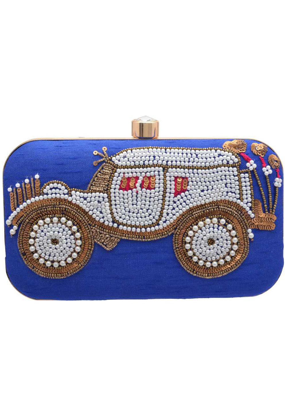 Blue Synthetic Embroidered Clutch 176770
