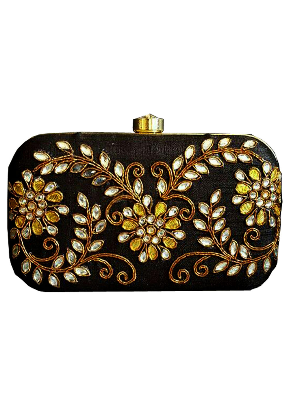 Black Synthetic Embroidered Clutch 176771