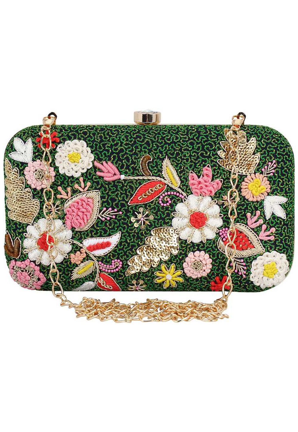 Green Synthetic Embroidered Clutch 176773