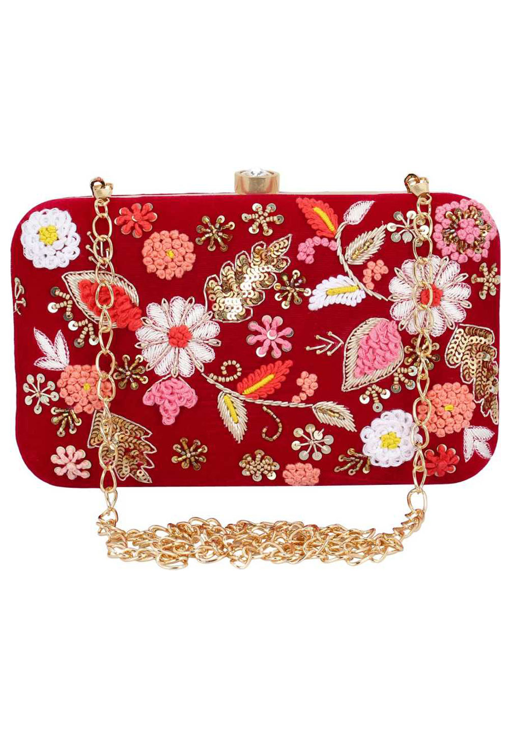 Red Synthetic Embroidered Clutch 176774