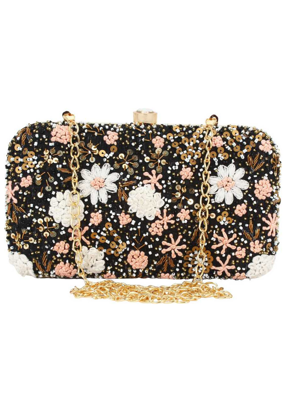 Black Synthetic Embroidered Clutch 176775