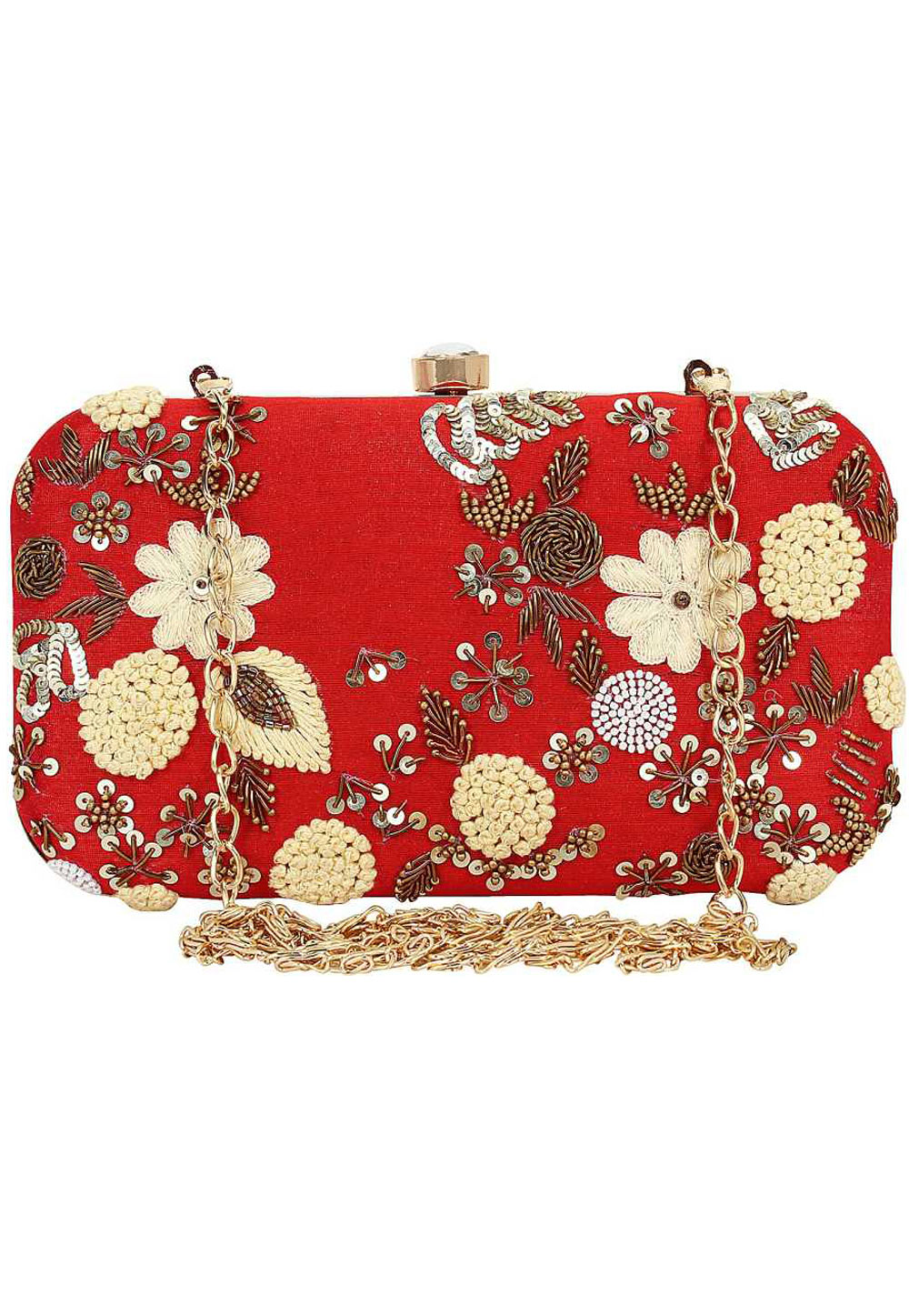 Red Synthetic Embroidered Clutch 176776