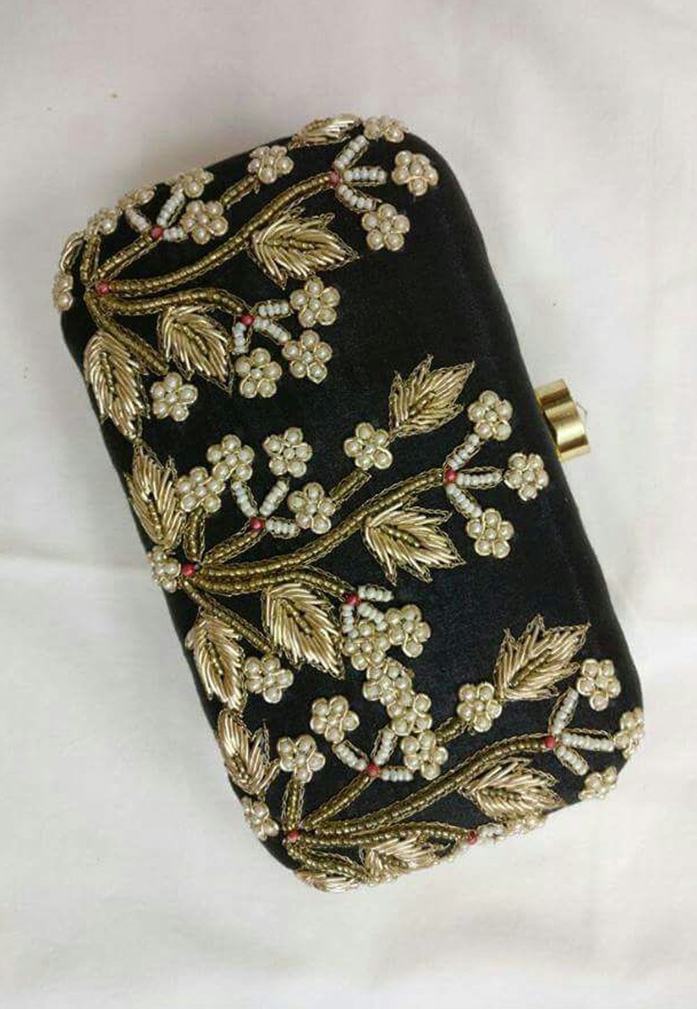 Black Synthetic Embroidered Clutch 176779