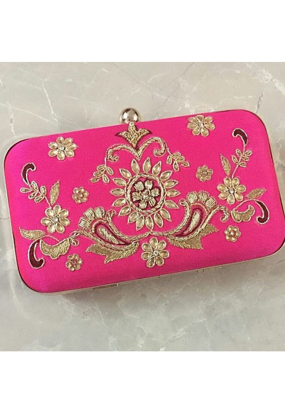 Magenta Synthetic Embroidered Clutch 176780