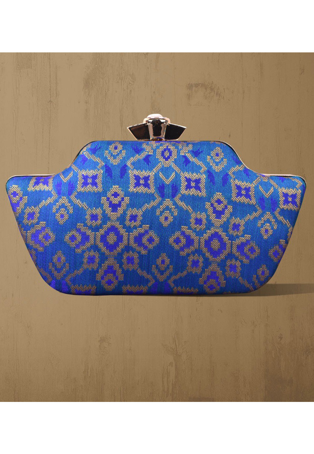 Blue Synthetic Printed Clutch 177087