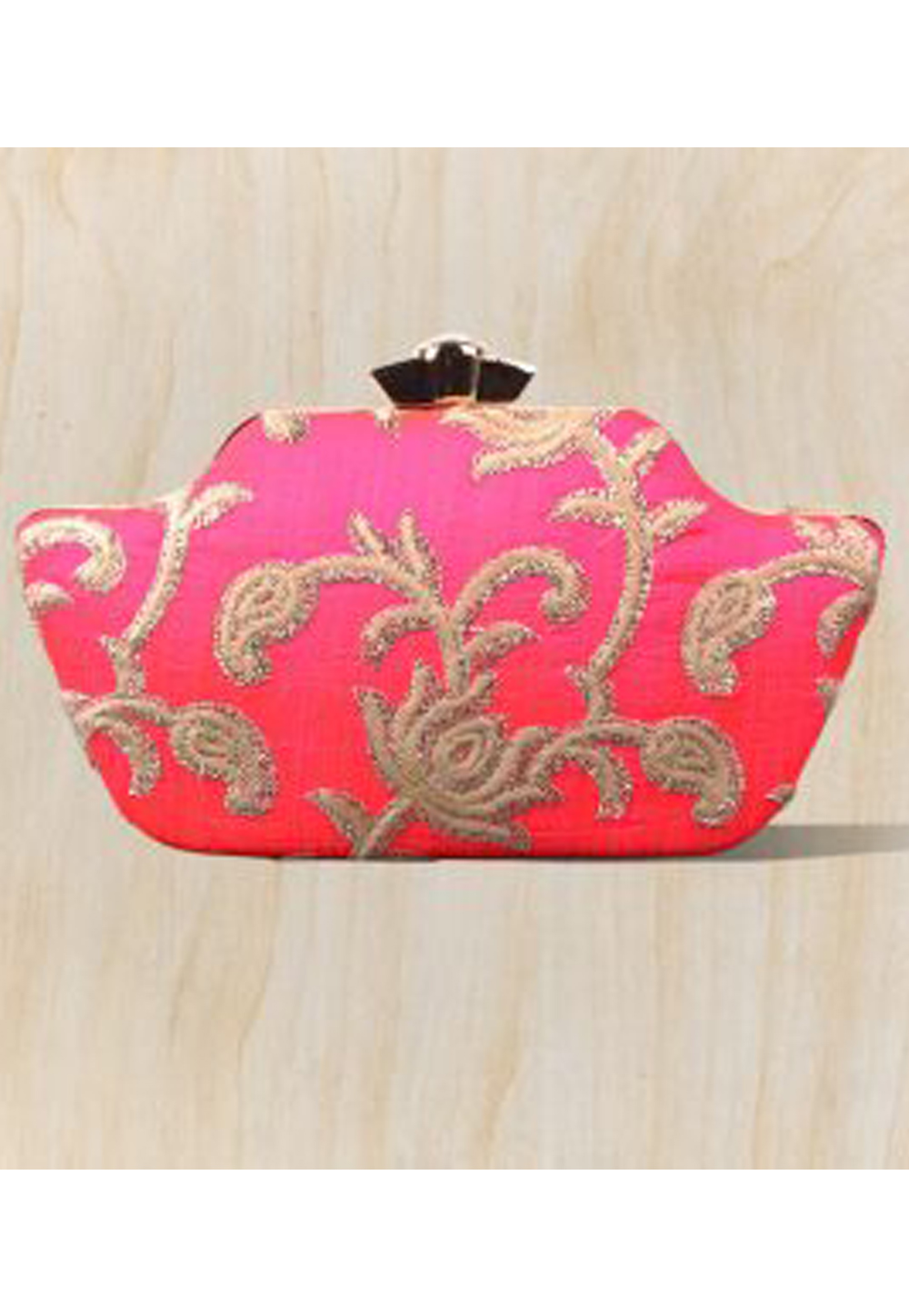 Pink Synthetic Embroidered Clutch 177088