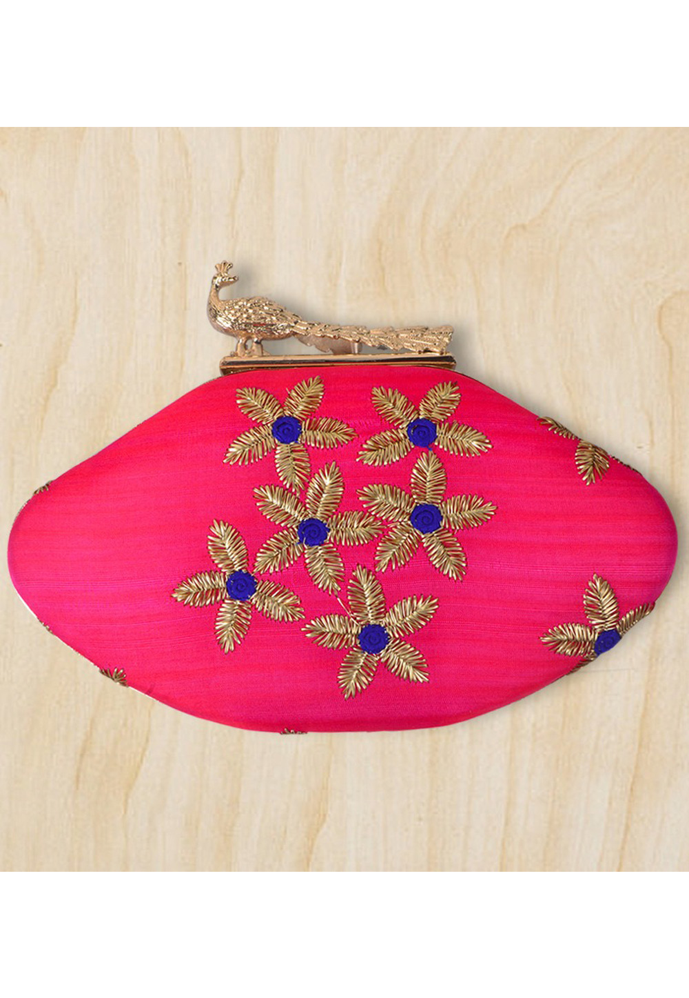 Magenta Synthetic Embroidered Clutch 177089