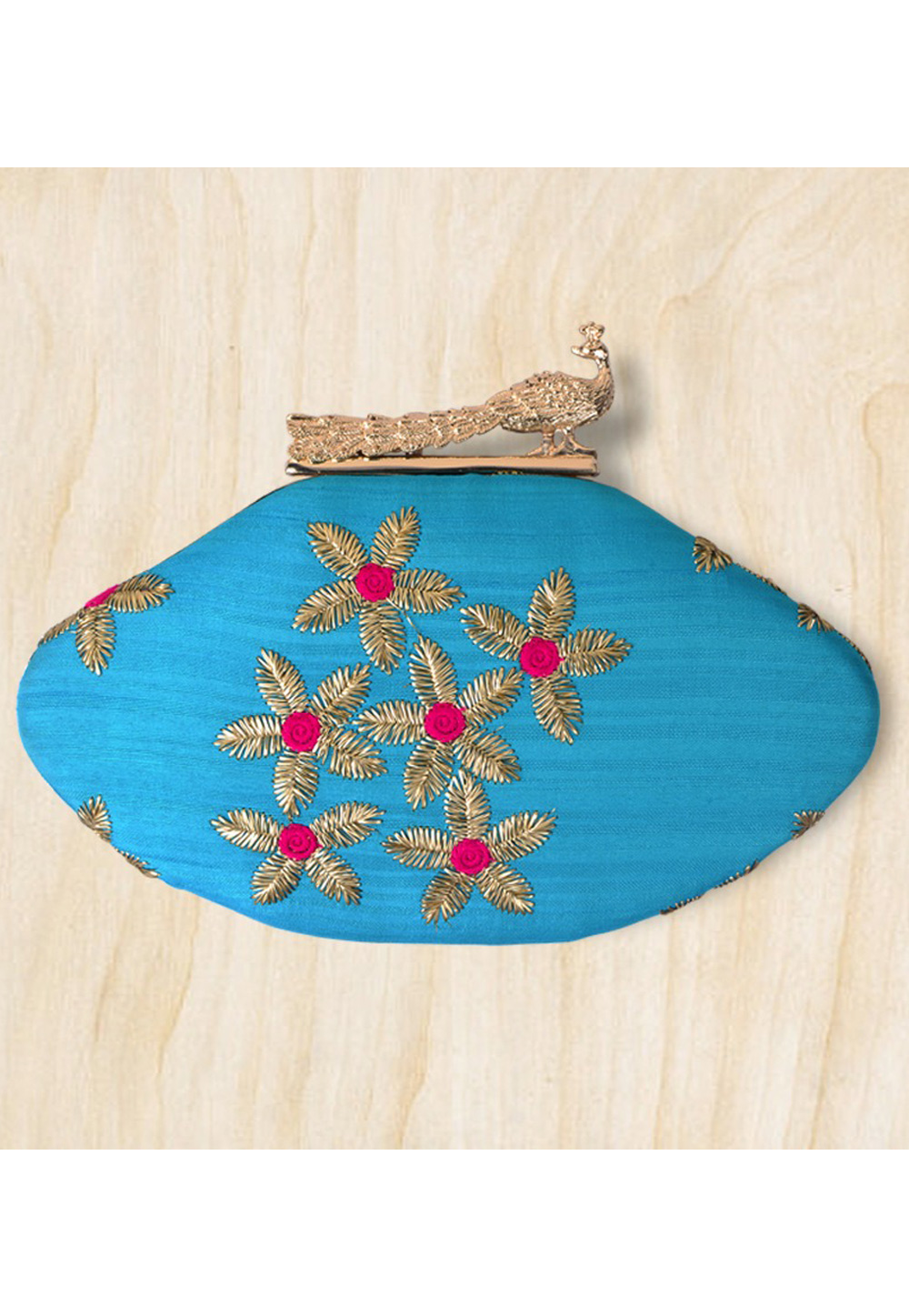 Blue Synthetic Embroidered Clutch 177090