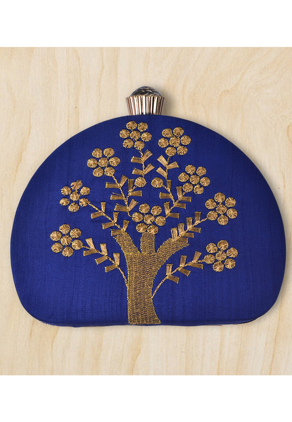 Blue Synthetic Embroidered Clutch 177092