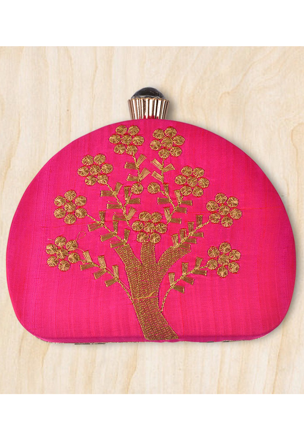 Magenta Synthetic Embroidered Clutch 177093