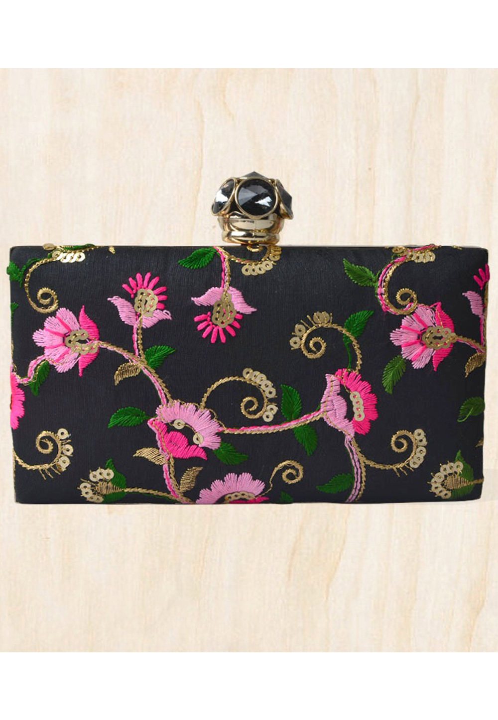 Black Synthetic Embroidered Clutch 177096