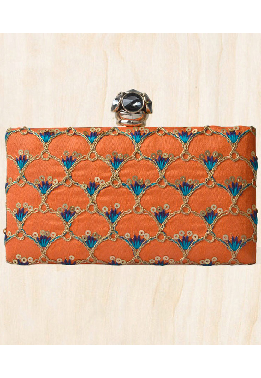 Orange Synthetic Embroidered Clutch 177097