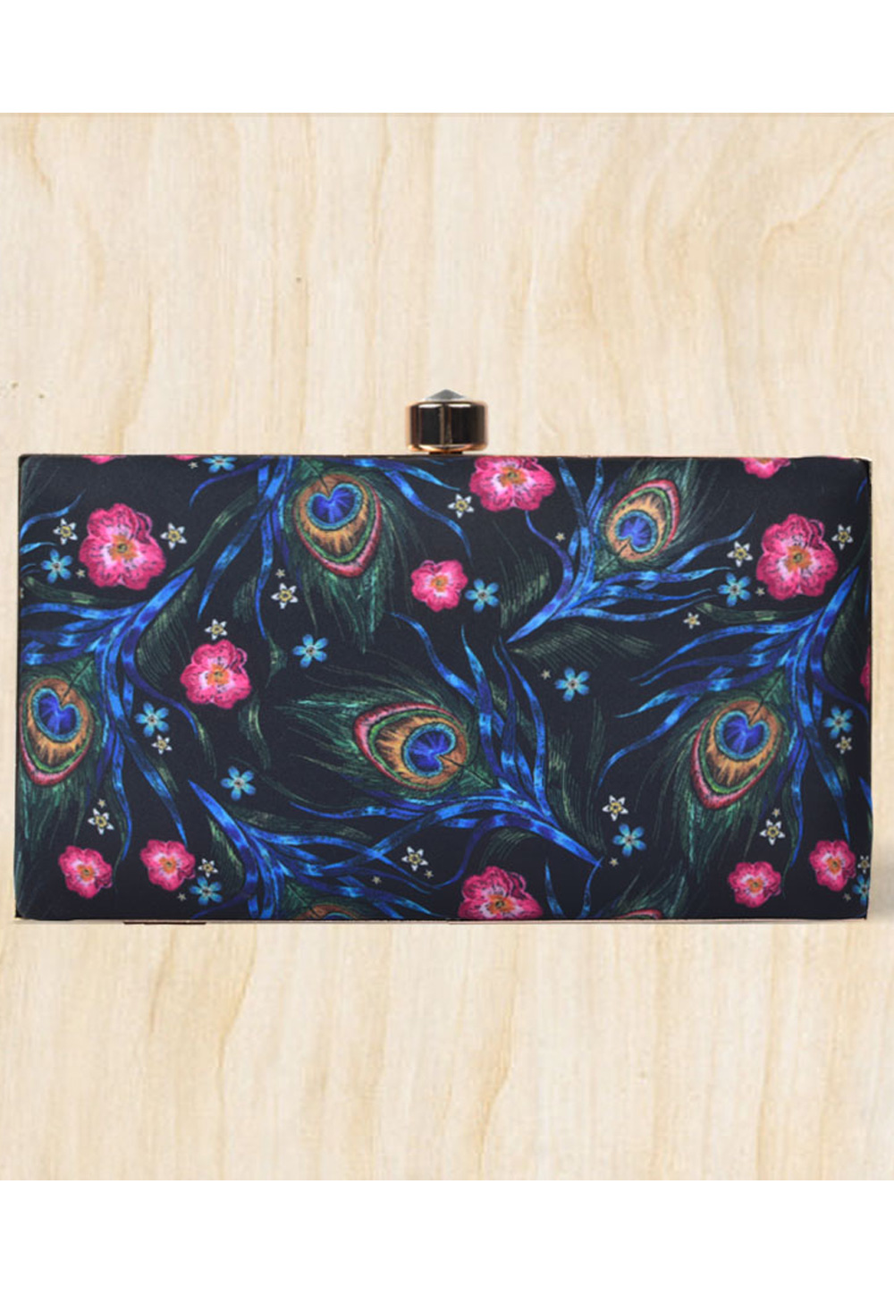 Black Synthetic Printed Clutch 177098