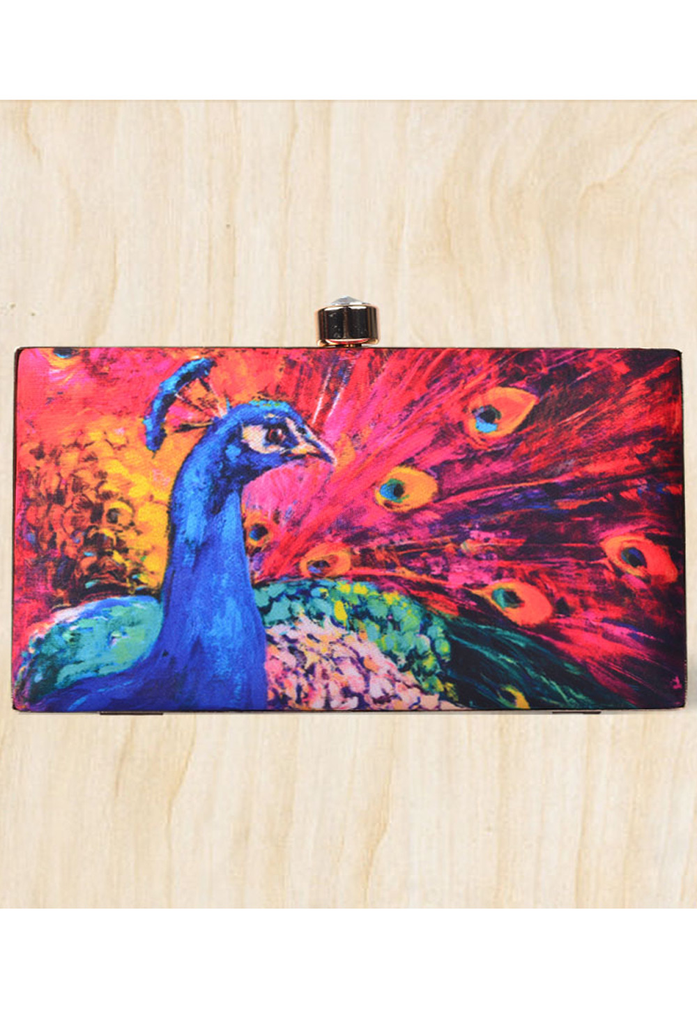 Magenta Synthetic Printed Clutch 177099