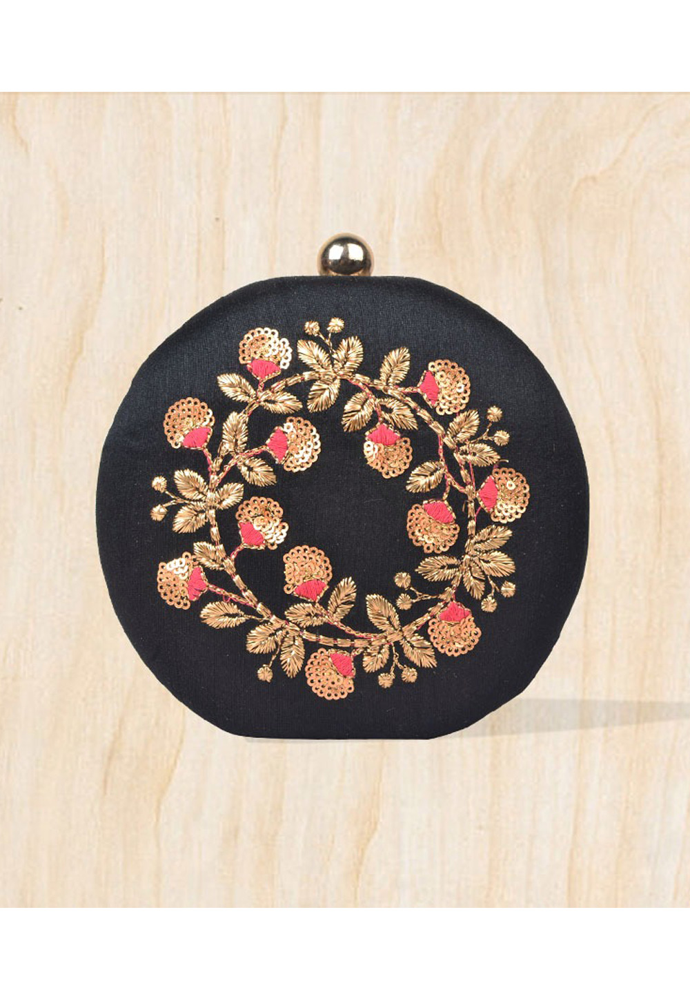 Black Synthetic Embroidered Clutch 177100