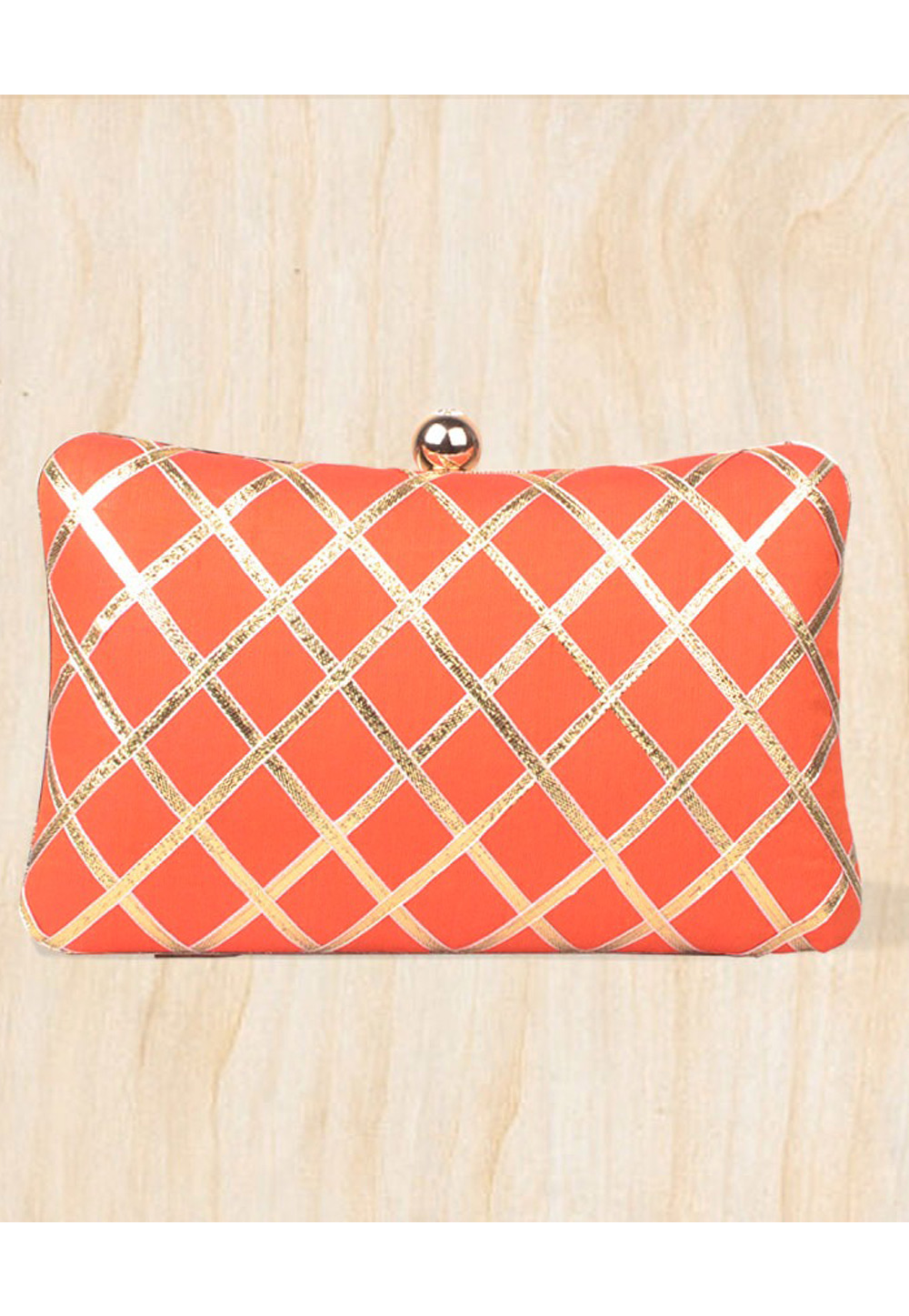 Orange Synthetic Embroidered Clutch 177101