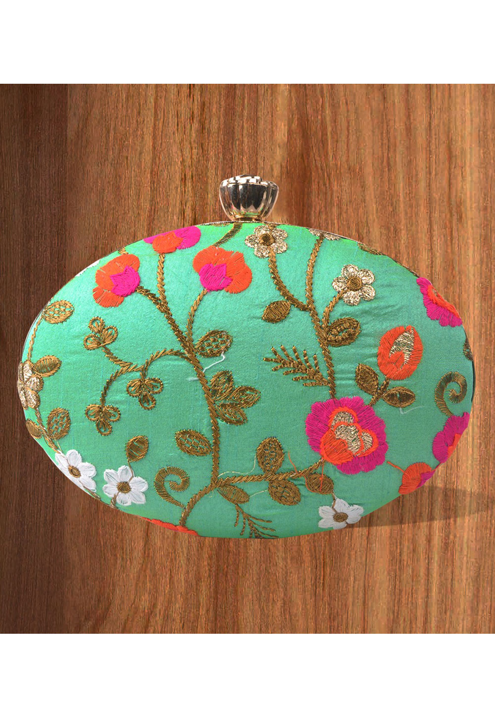 Sea Green Synthetic Embroidered Clutch 177105