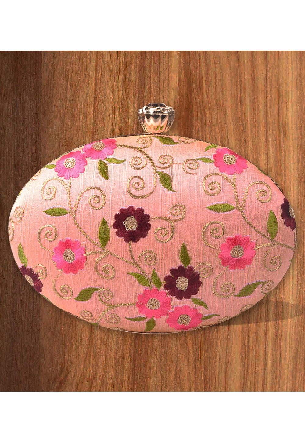 Pink Synthetic Embroidered Clutch 177106