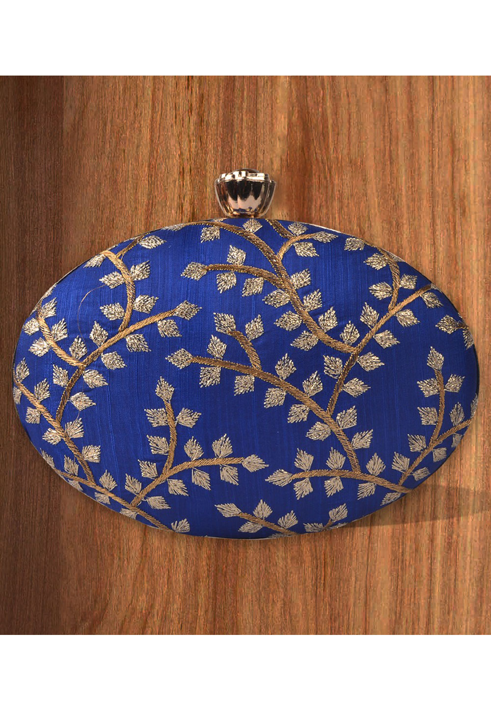 Blue Synthetic Embroidered Clutch 177107