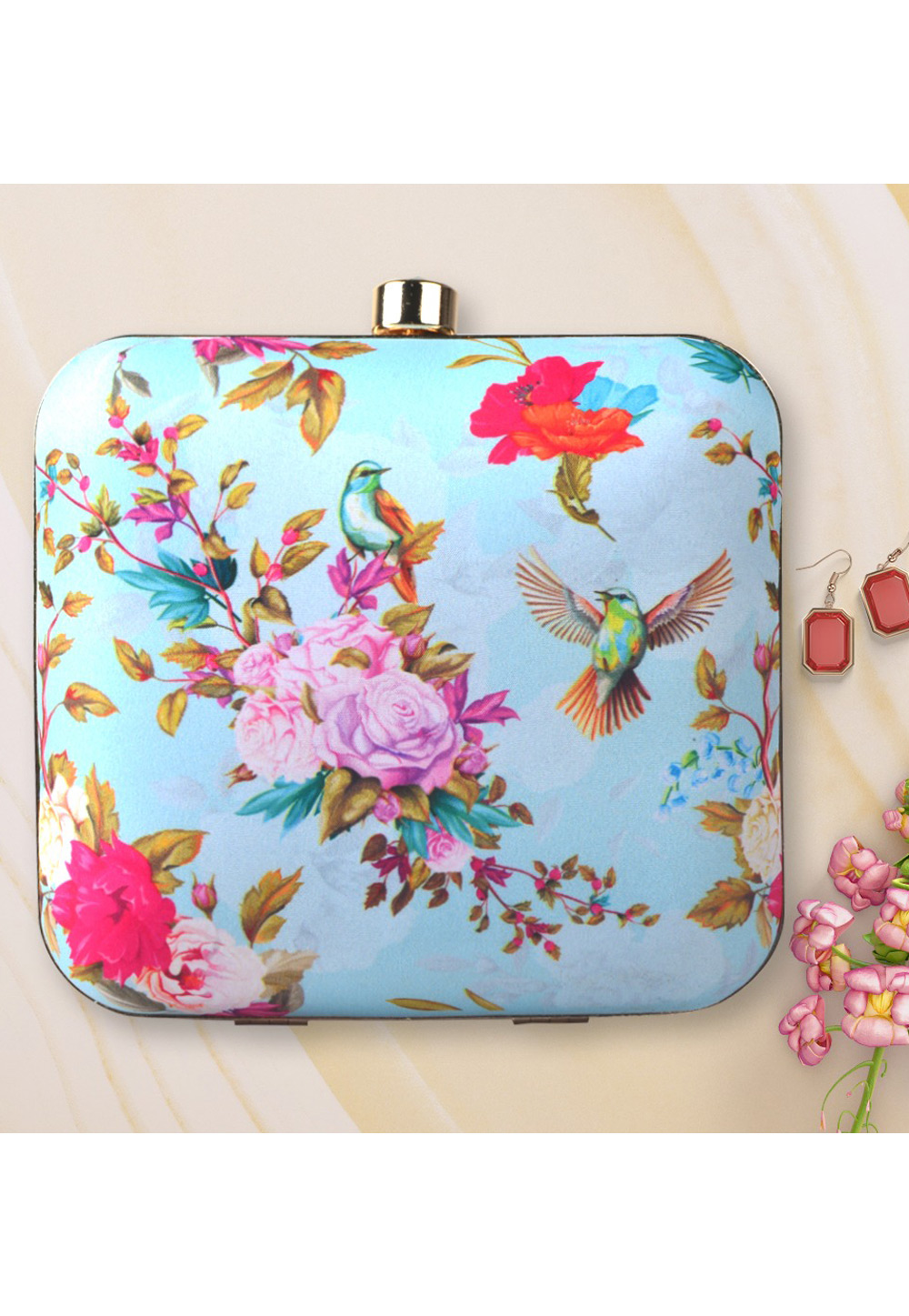 Light Blue Synthetic Printed Clutch 177043
