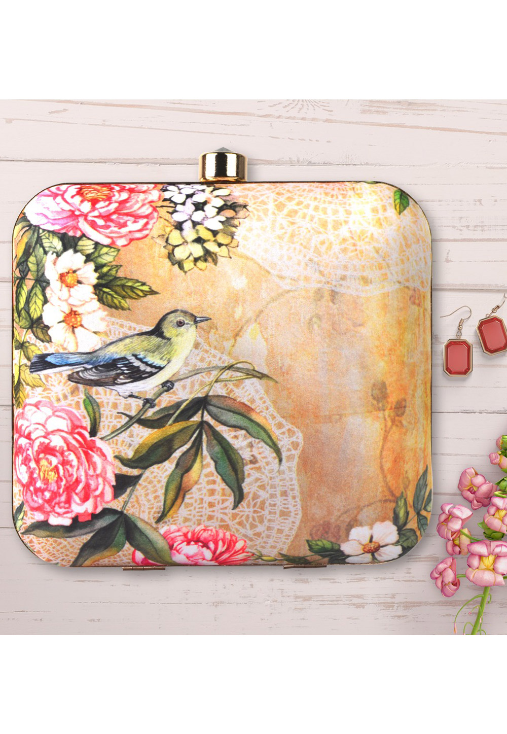 Beige Synthetic Printed Clutch 177044