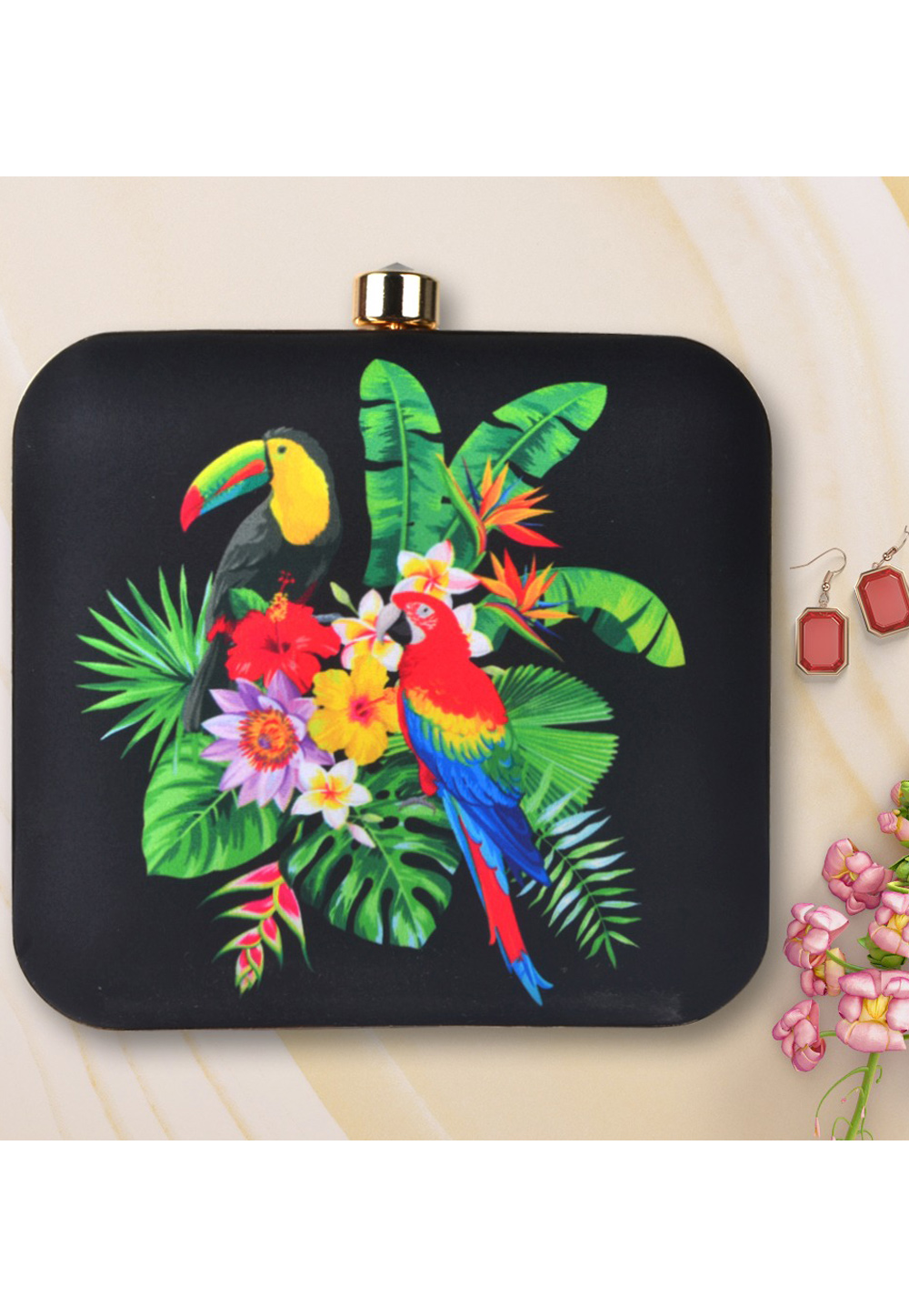Black Synthetic Printed Clutch 177045