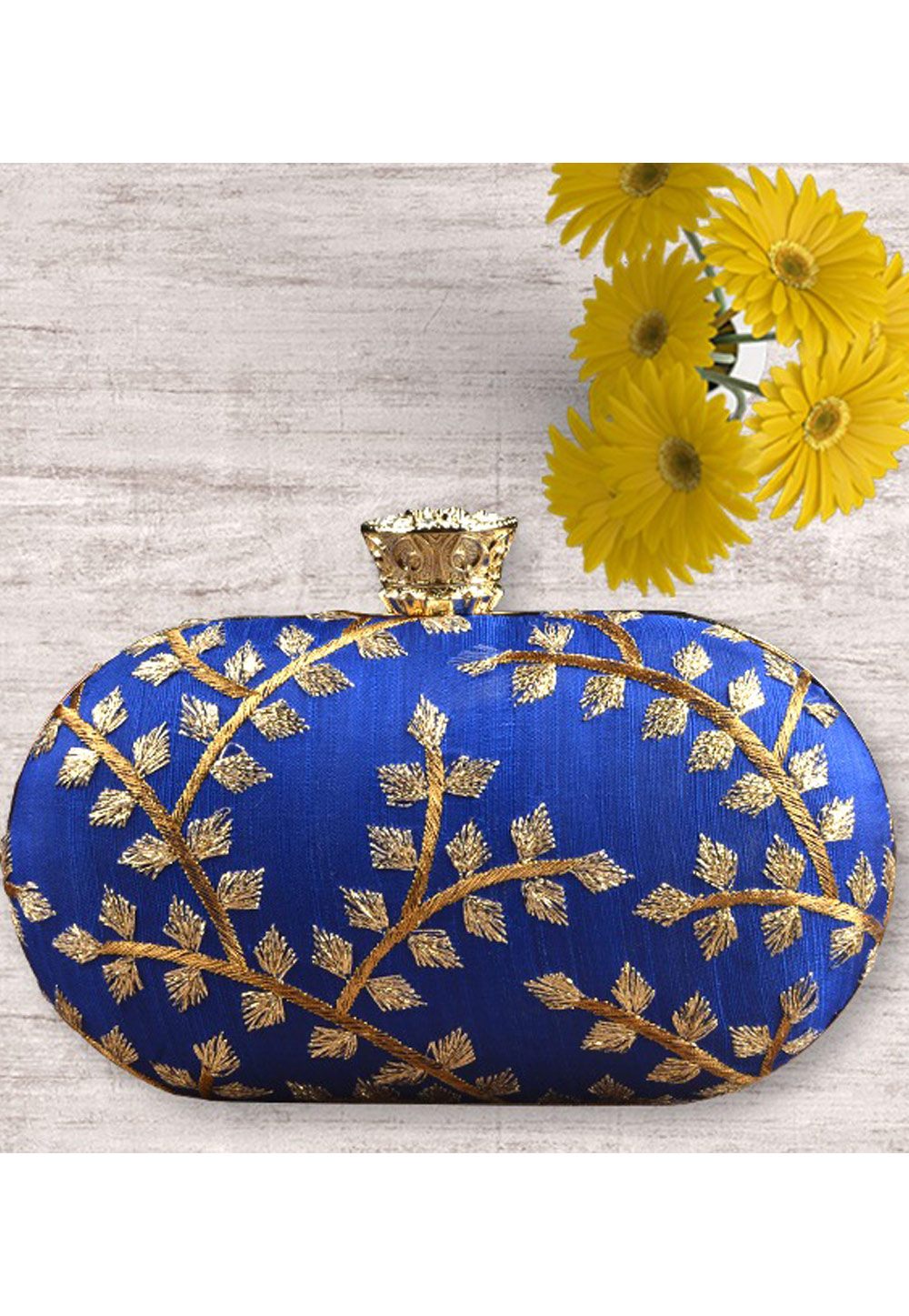 Blue Synthetic Embroidered Clutch 177046