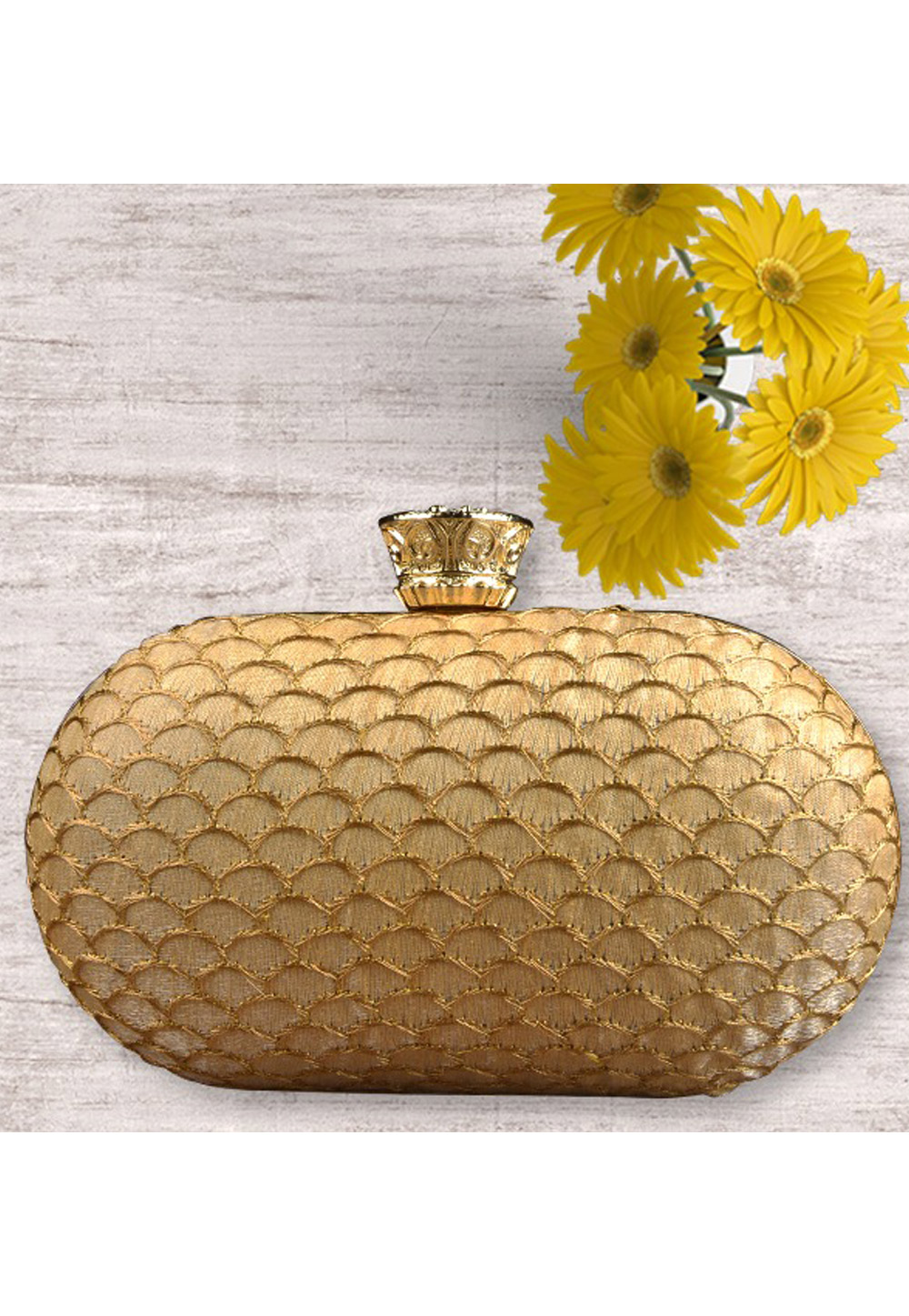 Beige Synthetic Embroidered Clutch 177047