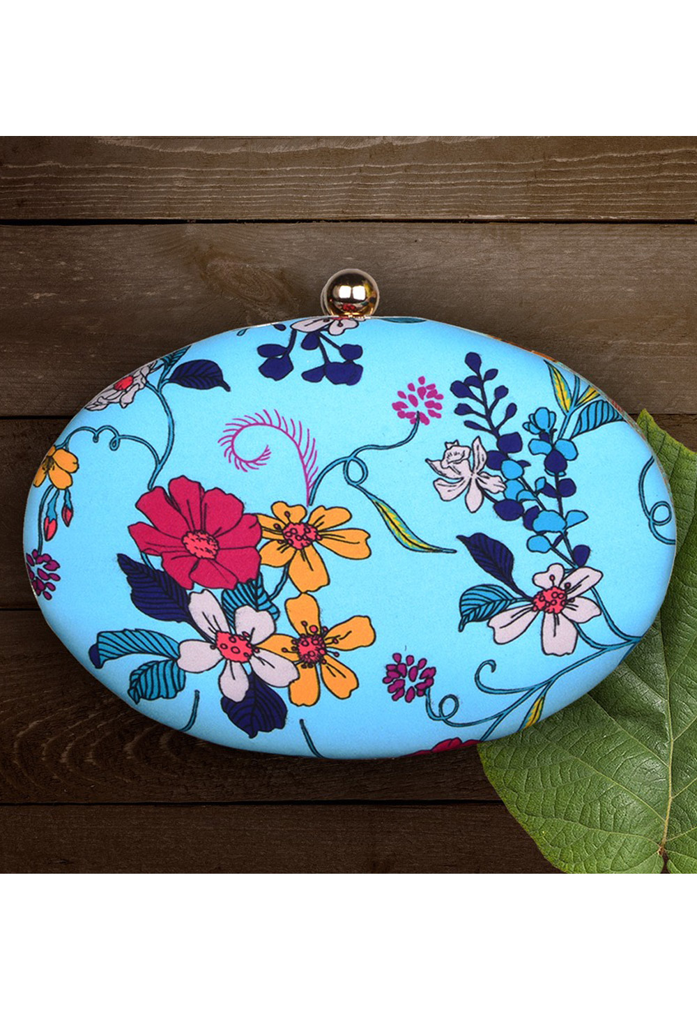 Light Blue Synthetic Printed Clutch 177049