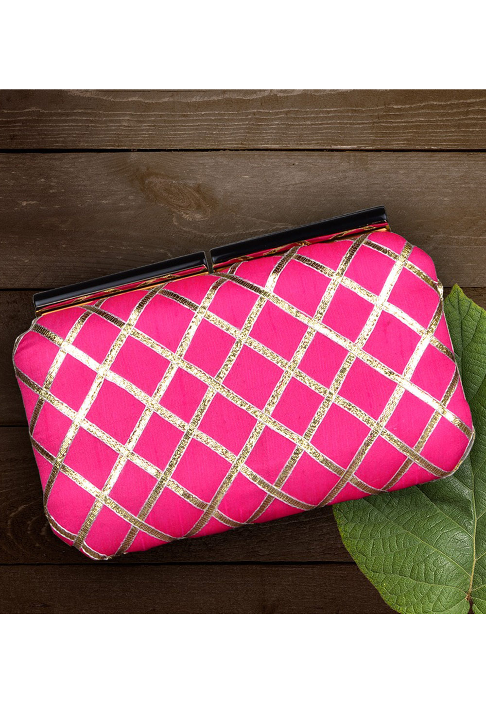 Magenta Synthetic Embroidered Clutch 177050