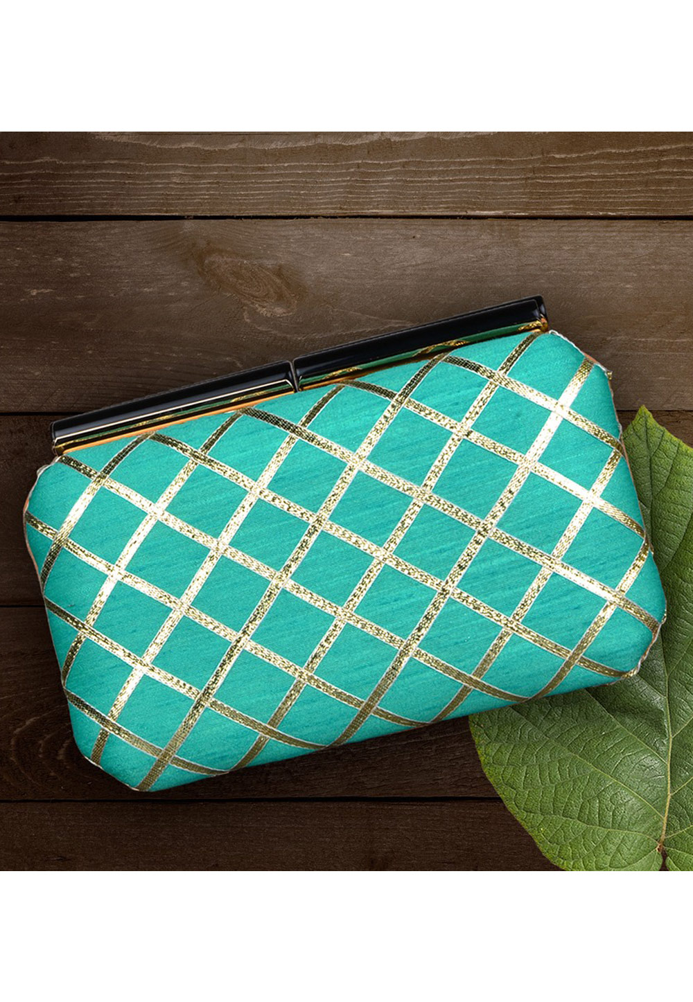 Aqua Synthetic Embroidered Clutch 177051