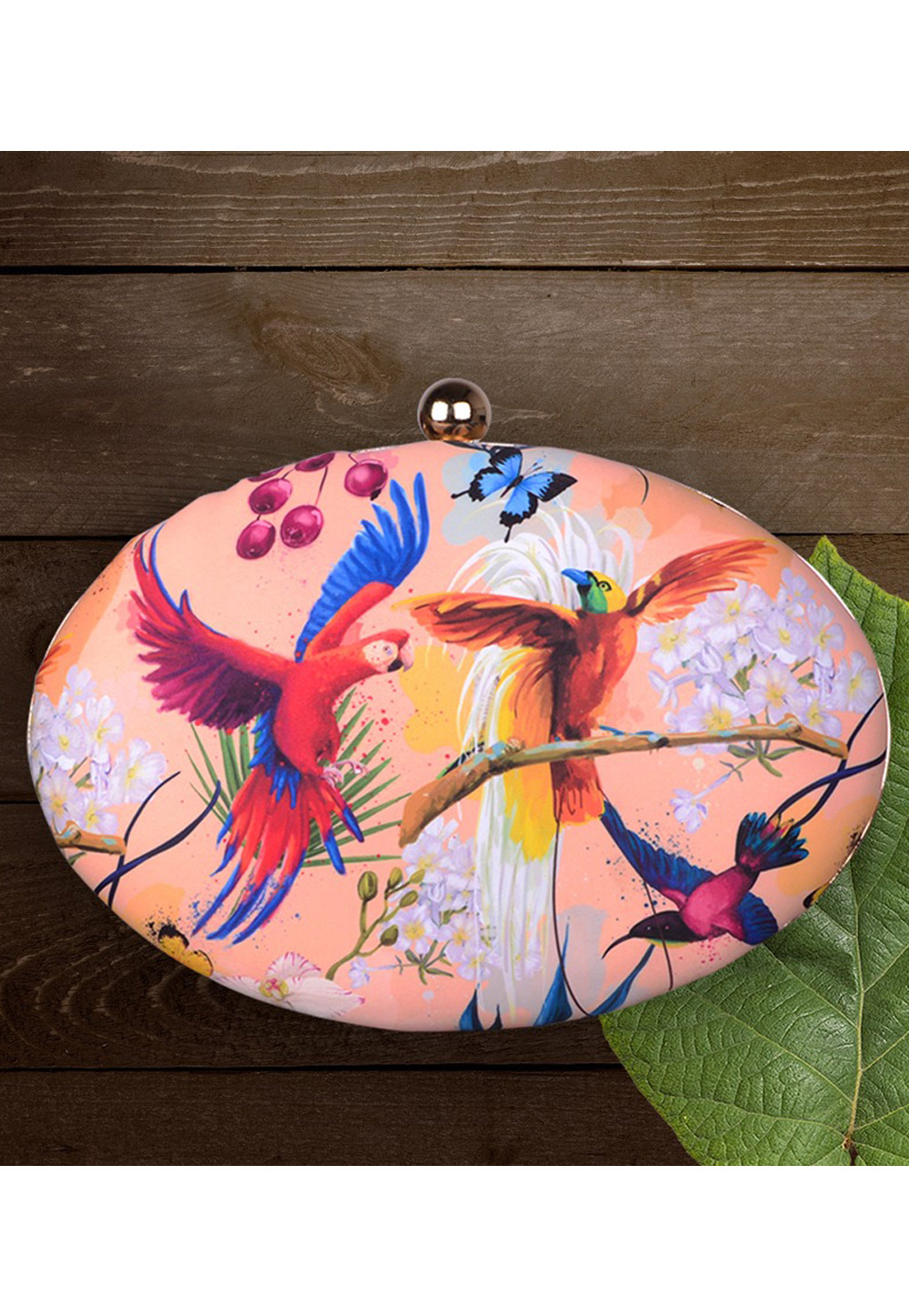 Peach Synthetic Printed Clutch 177052