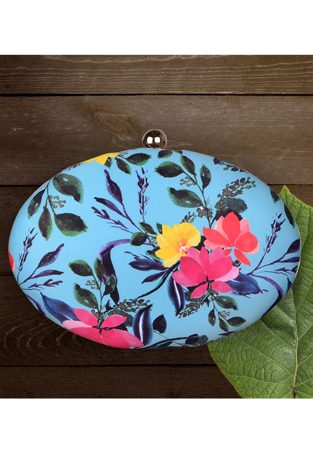 Light Blue Synthetic Printed Clutch 177053