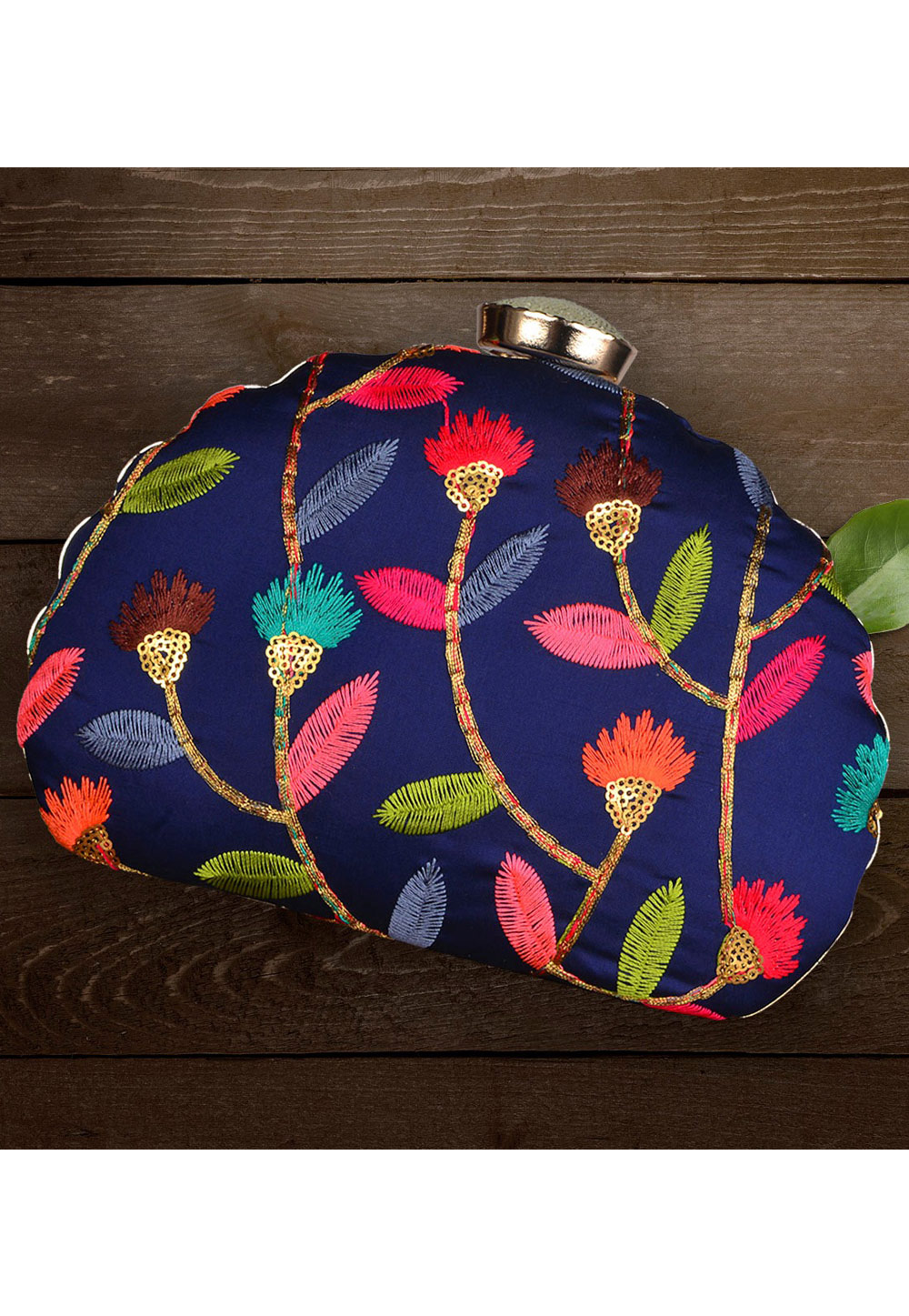Navy Blue Synthetic Embroidered Clutch 177059