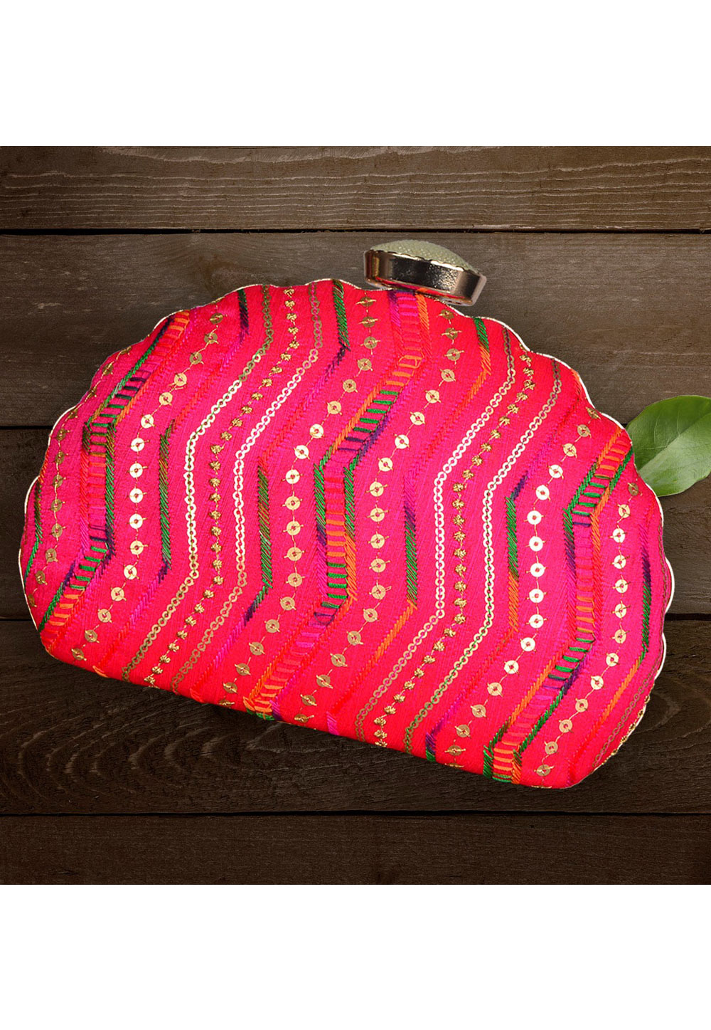 Magenta Synthetic Embroidered Clutch 177061