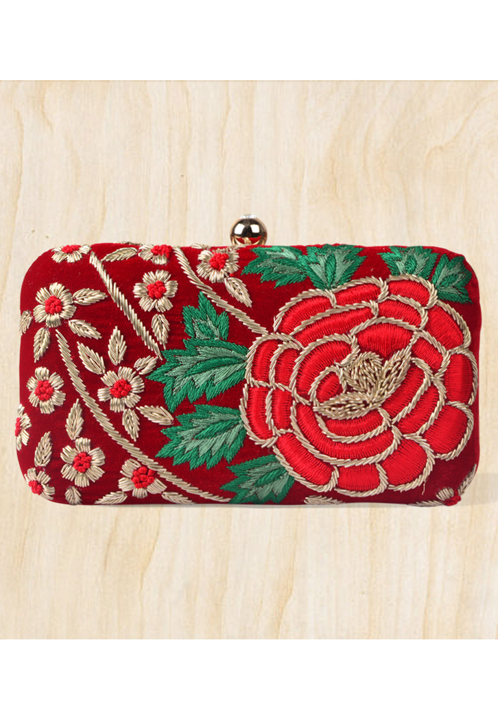 Maroon Synthetic Embroidered Clutch 177064