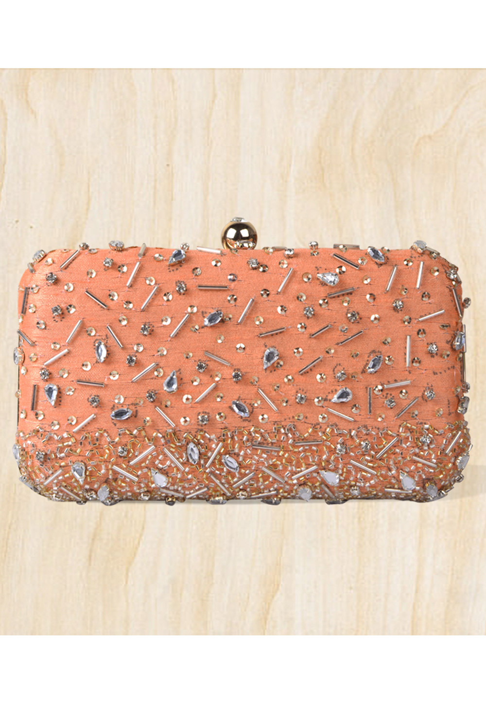 Peach Synthetic Embroidered Clutch 177065