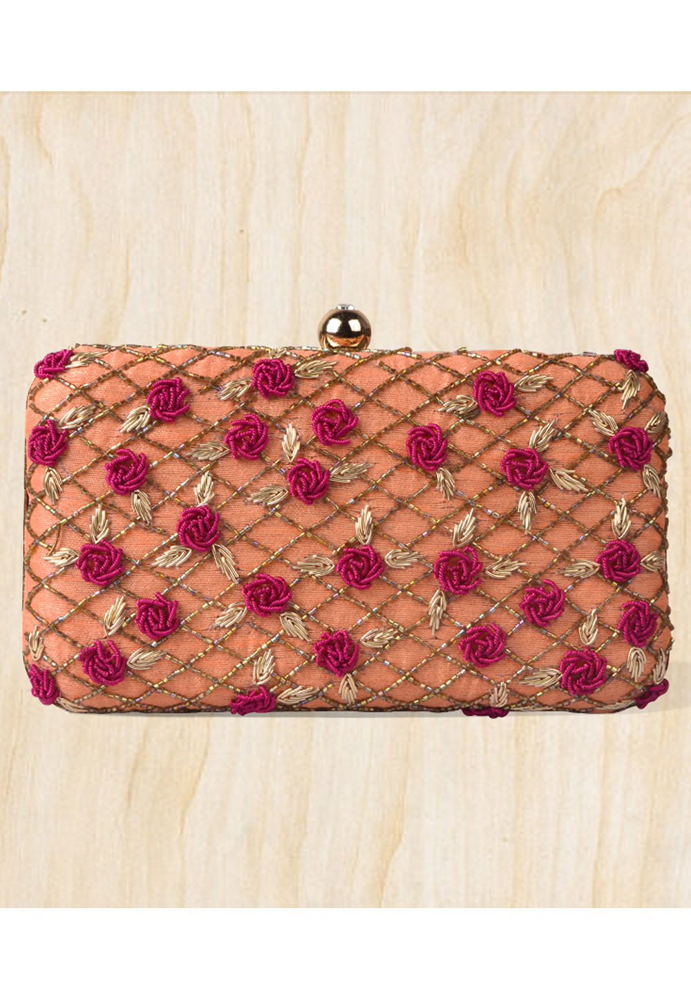 Peach Synthetic Embroidered Clutch 177066