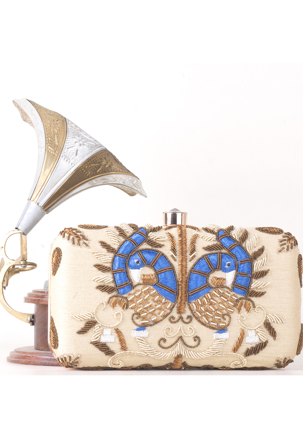 Beige Synthetic Embroidered Clutch 177067