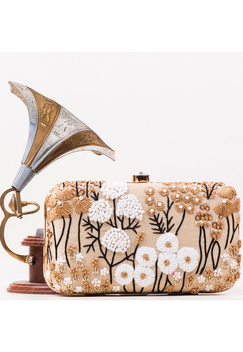 Beige Synthetic Embroidered Clutch 177068